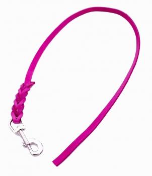 Leine Fettleder 12mm Pink ohne Handschlaufe geflochten
